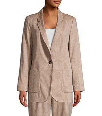 peserico women's linen & wool notched jacket - cafe - size 40 (4)
