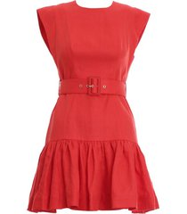 brightside fluted mini dress in ruby