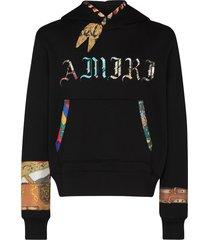 amiri bandana-print cotton hoodie - black