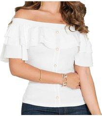 blusa china blanco para mujer croydon