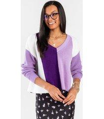 teanne colorblock pullover sweater - purple