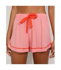 short de pijama feminino com laço e vivo contrastante rosa