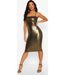 metalliic square neck strappy midi dress, gold