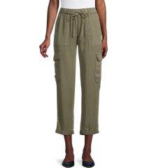 pure navy women's cropped cargo pants - light indigo - size xl
