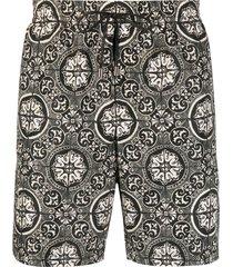 dolce & gabbana maiolica-print swim shorts - black