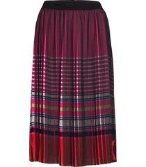 stripe print pleated skirt knälång kjol multi/mönstrad karl lagerfeld