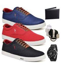 kit 3 pares sapatênis polo blu casual azul/vermelho/preto acompanha cinto + meia + carteira + relógio
