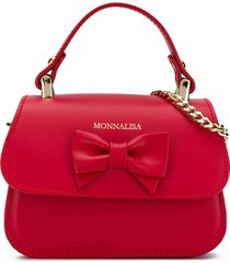 monnalisa logo bow-detail tote - red