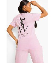 oversized ye saint west t-shirt met rugopdruk, lilac