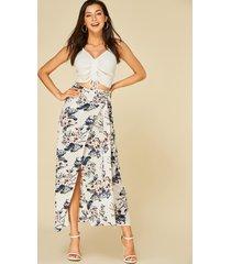blanco diseño falda con dobladillo con abertura y estampado floral