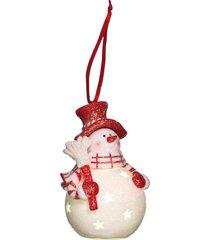 enfeite natalino decorativo boneco de neve com led 10cm - vermelho - dafiti