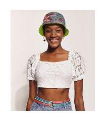 blusa de renda feminina hype beachwear cropped manga bufante decote reto off white