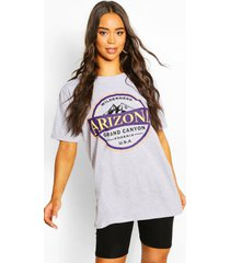 arizona washed slogan t-shirt, grey marl
