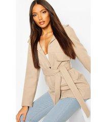 pocket belted wool look hooded coat, stone