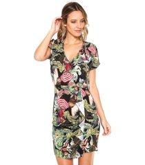vestido colcci curto tropical preto