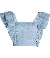 bcbgeneration women's eyelet ruffle cropped top - rose smoke - size l
