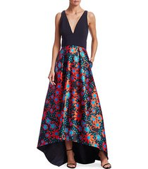 floral polka dot high-low gown