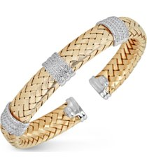 diamond braided cuff bracelet (1-1/4 ct. tw.) in 14k gold-plated sterling silver