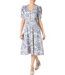 women's julia jordan floral print button front puff sleeve dress, size 10 - blue