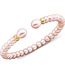 14k gold pink cultured freshwater pearl bracelet