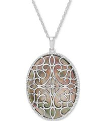 "black mother-of-pearl teardrop filigree 18"" pendant necklace in sterling silver"