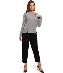 blouse style s180 trui met split in de zoom - grijs