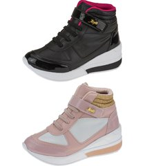 kit 02 pares tênis sneaker joys shoes flat form preto/rosa rosa/branco