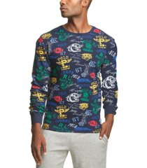 polo ralph lauren men's printed waffle-knit pajama shirt