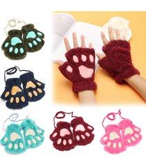 donna guanti in peluche calda a metà dita a forma di zampe carine di gatto orso