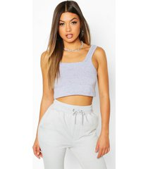 basic square neck crop top, grey marl