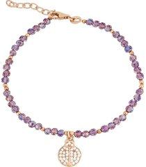 bracciale coccinella in argento 925 dorato rosé, zirconi e cristalli per donna