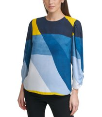 dkny petite colorblocked ruched-sleeve top