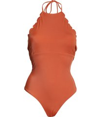 women's chelsea28 high neck scalloped one-piece swimsuit, size xx-small - brown