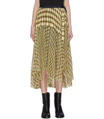 wrap-around pleated panelled flannel midi skirt