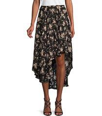 moody floral-print silk skirt