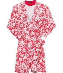 macaquinho kimono floral animale - vermelho