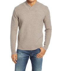men's schott nyc waffle knit thermal wool blend pullover, size medium - brown