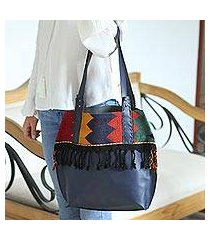 leather shoulder and cosmetic bag, 'bohemian zigzag in navy' (pair) (mexico)