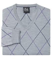 traveler collection merino wool v-neck argyle men's sweater - big & tall clearance