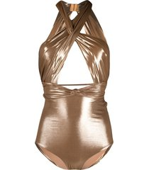 maria lucia hohan cross-over strap swimsuit - gold