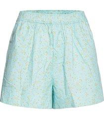 printed cotton poplin shorts flowy shorts/casual shorts blå ganni