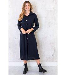 knopen jurk lang marineblauw