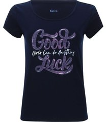camiseta descanso good luck color azul, talla l