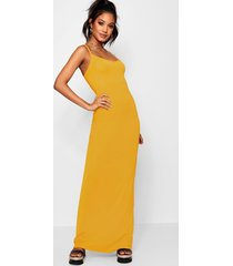 basic strappy maxi dress, mustard
