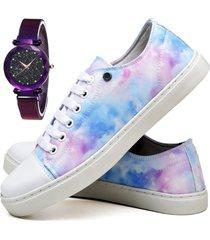 tênis sapatênis fashion tie dye com relógio luxury feminino dubuy 735el colorido