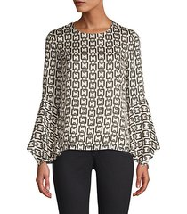 holly chain-print bell-sleeve top