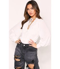 sheer plunge front tie neck blouse, white