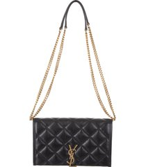 black-gold rumble quilted becky wallet with chain