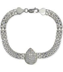 cubic zirconia teardrop bismark chain bracelet in sterling silver