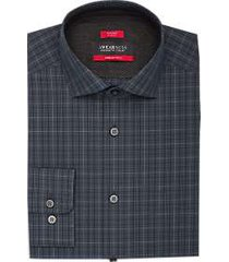 awearness kenneth cole awear-tech navy & gray plaid slim fit dress shirt